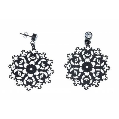 Boucles d'oreilles pendantes en acier noir pour femme - Diva - Lyn&Or Bijoux