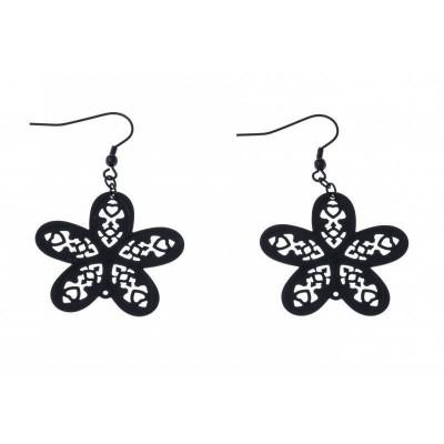 Boucles d'oreilles Fleur en acier noir pour femme - Myra - Lyn&Or Bijoux