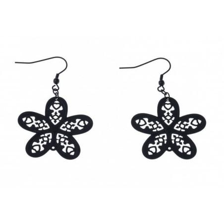 Boucles d'oreilles Fleur en acier noir - Myra