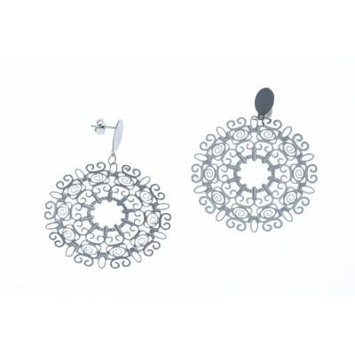 Boucles d'oreille femme, grands cercles en acier gris - Tyma - Lyn&Or Bijoux