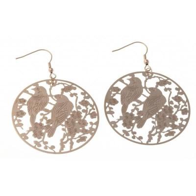 Boucles d'oreille pour femme en acier rose - Oiseaux - Lyn&Or Bijoux