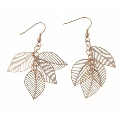Boucles d'oreille pendantes femme en acier rose - Plume - Lyn&Or Bijoux