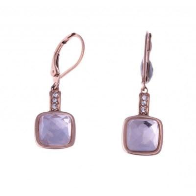 Boucles pendantes en acier rose pour femme - Soupir - Lyn&Or Bijoux