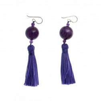 Boucles d'oreilles en améthyste pour femme - Pompon - Lyn&Or Bijoux