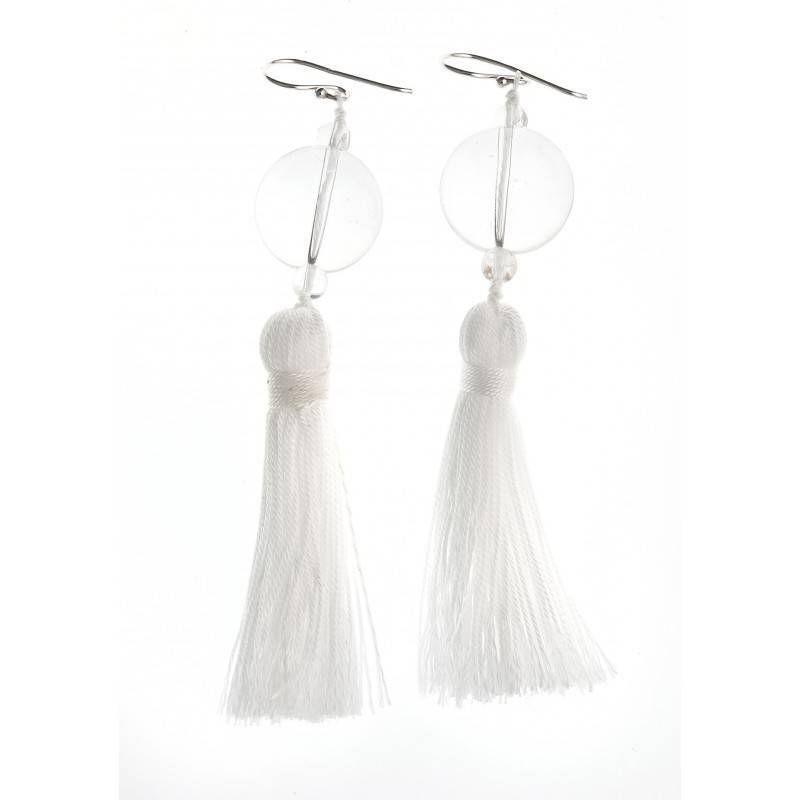 Boucles d'oreilles pompon et cristal pour femme - Pompon Blanc - Lyn&Or Bijoux