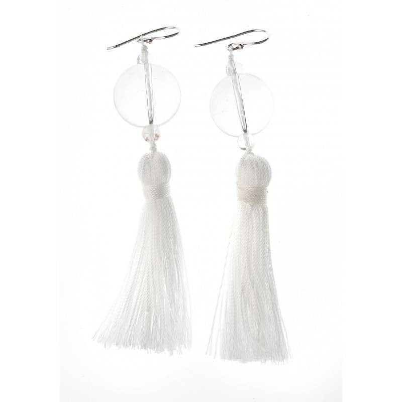 boucle d'oreille cristal fantaisie pour femme, Pompon Blanc