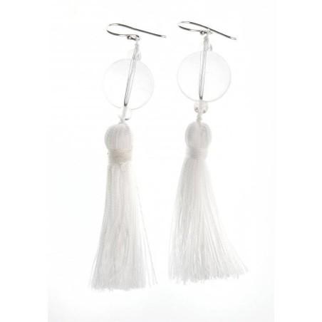 Boucles d'oreilles cristal - Pompon Blanc