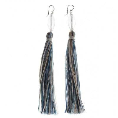 Boucles d'oreilles pendantes, cristal, Pompon Bleu - Lyn&Or Bijoux