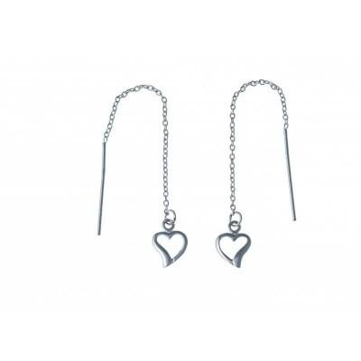 Chaînes d'oreilles coeur en argent pour femme - Cali - Lyn&Or Bijoux