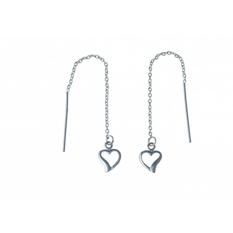 chaînes d'oreilles argent pour femme, motif cœur - boucles d'oreilles femme