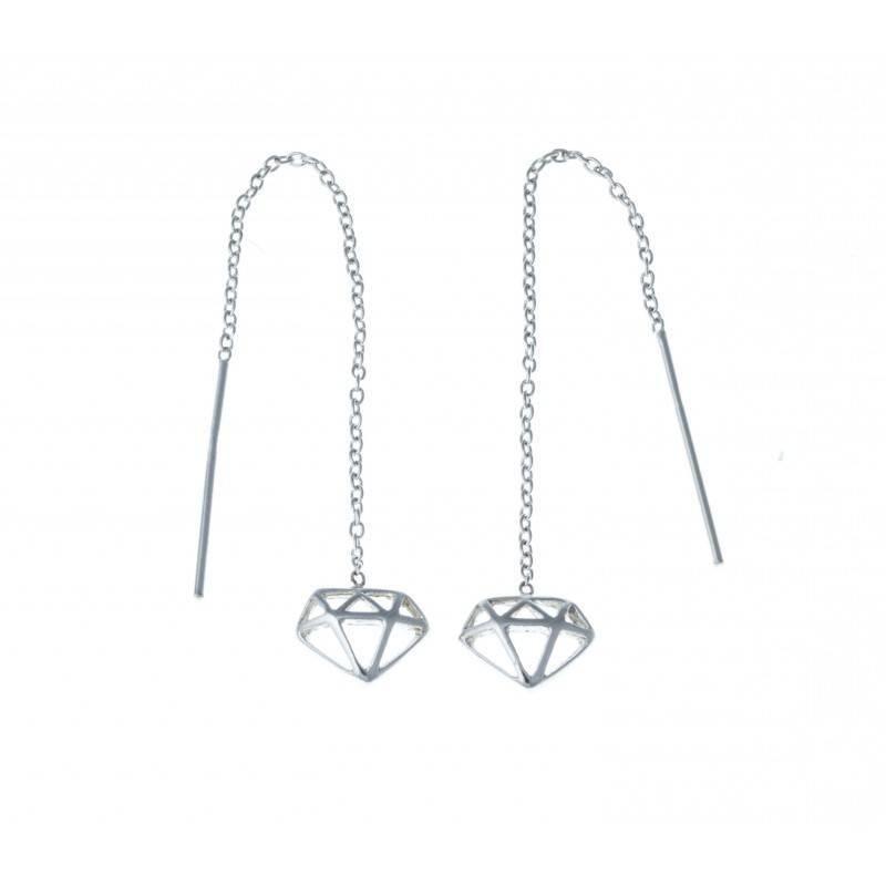 boucle d'oreille argent diamant
