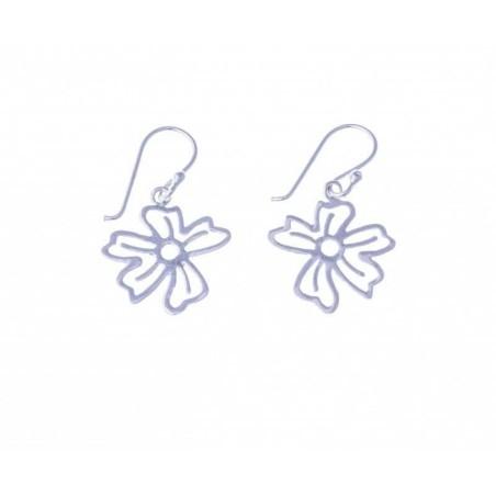 Boucles d'oreilles Fleurs en argent - Pensée