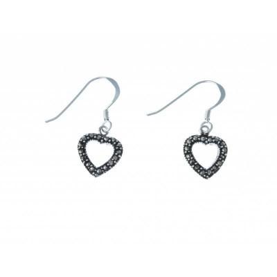 Boucles d'oreille femme, coeur en marcassite & argent - Axou - Lyn&Or Bijoux