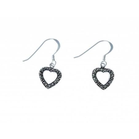 Boucles d'oreilles coeur en marcassite - Axou