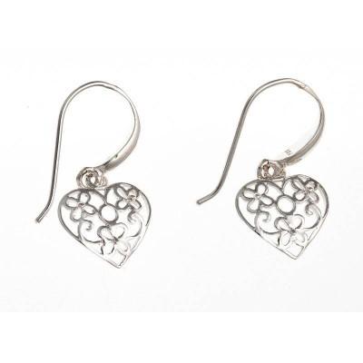 Boucles d'oreille femme, coeur pendant en argent - La - Lyn&Or Bijoux