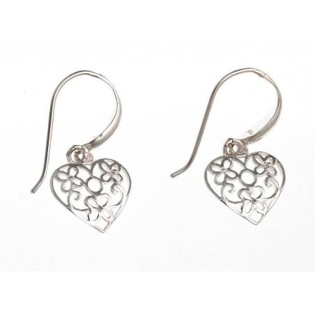 Boucles d'oreilles coeur en argent 925 - La