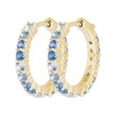 Boucles d'oreilles créoles en plaqué or & Zircon bleu - Sypha - Lyn&Or Bijoux