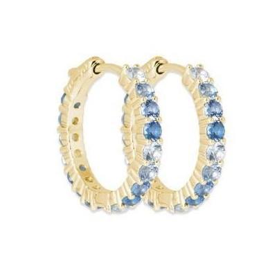 Boucles d'oreilles créoles originales pour femme: Plaqué or & Zircon bleu