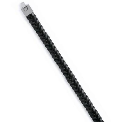 Bracelet acier et cuir tressé pour homme - Ouranos - Lyn&Or Bijoux