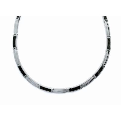 collier en acier et carbone pour homme