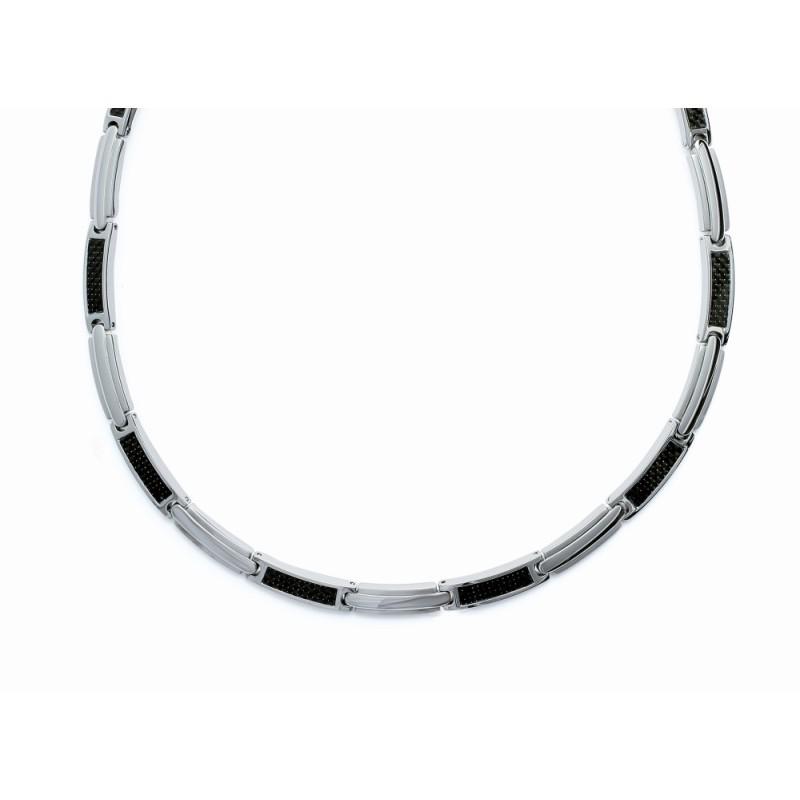 Collier pour homme en acier et carbone - Tunis - Lyn&Or Bijoux