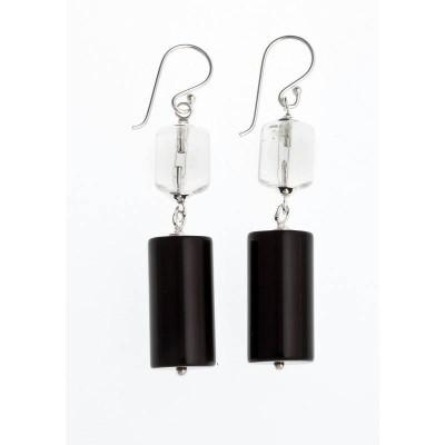 Boucles d'oreilles en agathe noire pour femme - Karma - Lyn&Or Bijoux