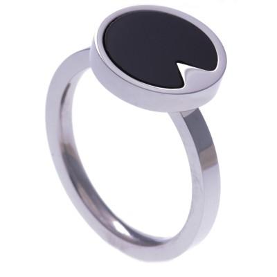 Bague en pierre naturelle pour femme: Acier & Onyx noir
