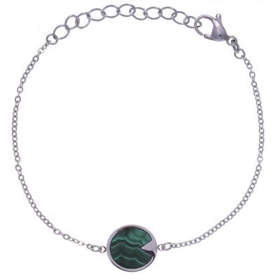 Bracelet en pierre naturelle pour femme - Acier & Malachite verte
