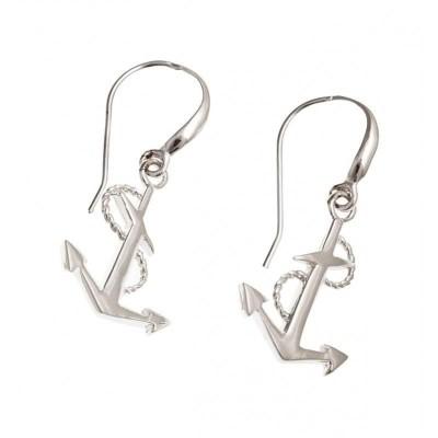 Boucles d'oreille créateur femme en argent rhodié - Ancre Marine - Lyn&Or Bijoux