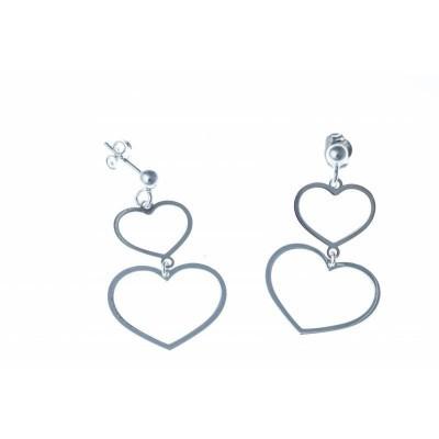 Boucles d'oreille femme, 2 coeurs en argent pendants - Heart - Lyn&Or Bijoux