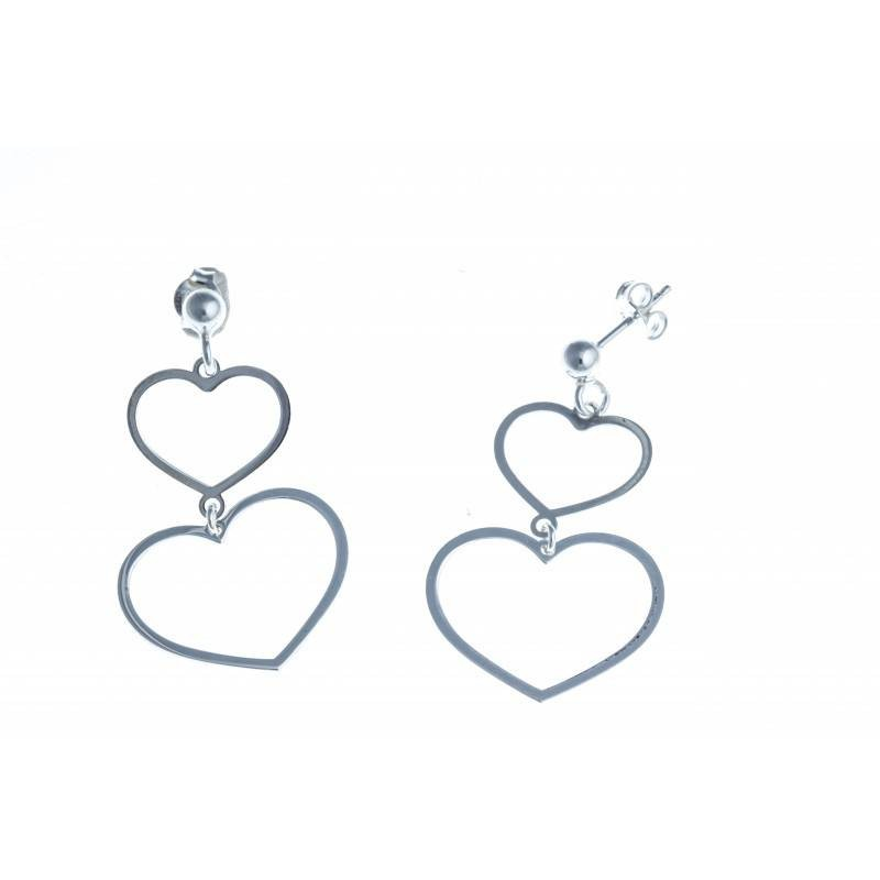 boucle d'oreille argent fantaisie pour femme - Heart