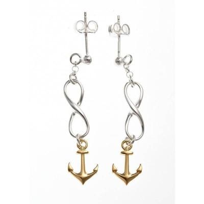 Boucles d'oreilles en argent deux tons pour femme - Ancre - Lyn&Or Bijoux