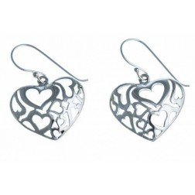 Boucles d'oreille pendantes femme, coeur en argent - Profusion - Lyn&Or Bijoux