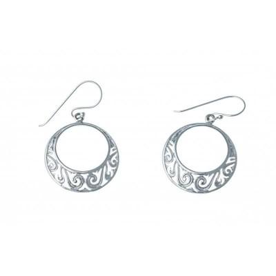 Boucles d'oreille femme, grands cercles en argent ciselés - Tentation - Lyn&Or Bijoux
