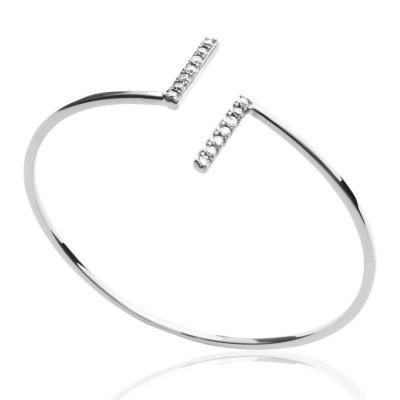 Bracelet jonc pour femme en argent rhodié et zircon - Erina - Lyn&Or Bijoux
