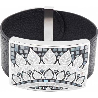 Bracelet manchette femme, cuir noir 3cm & plumes - Odena - Lyn&Or Bijoux