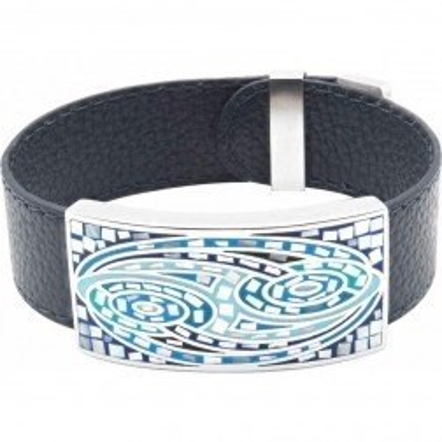 Bracelet femme original en cuir noir & décor acier bleu, Odena - Lyn&Or Bijoux