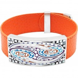 Bracelet femme, cuir orange & Vagues multicolores - Odena - Lyn&Or Bijoux
