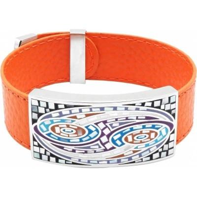 Bracelet femme, cuir orange & Vagues multicolores - Odena - Lyn&Or Bijoux