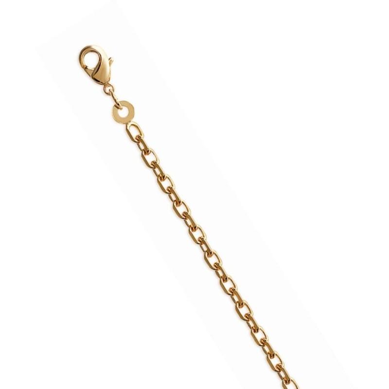 Chaîne femme en plaqué or 1,6 mm - Maille forçat diamantée
