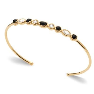 Bracelet jonc rigide pour femme, plaqué or & Agathe Noire - Yspa