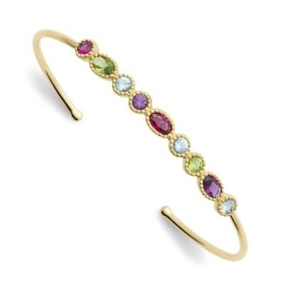 Bracelet jonc rigide pour femme, plaqué or & cristal coloré - Thyka - Lyn&Or Bijoux