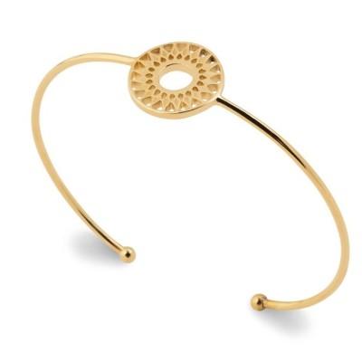 Bracelet jonc rigide, motif solaire, pour femme en plaqué or - Dybbi - Lyn&Or Bijoux