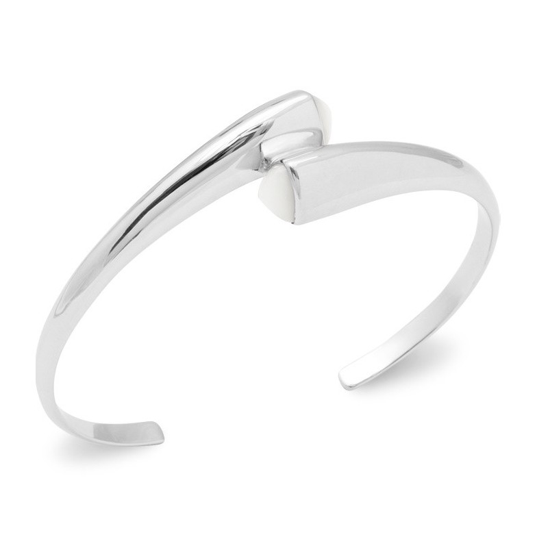 Bracelet jonc rigide pour femme en argent rhodié & Nacre - Xyla - Lyn&Or Bijoux