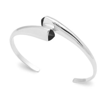 Bracelet jonc rigide pour femme en argent et agate noire - Bijouterie Lyn&Or