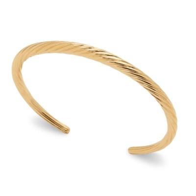 Bracelet jonc rigide, motif cordelette en plaqué or, femme - Noa - Lyn&Or Bijou