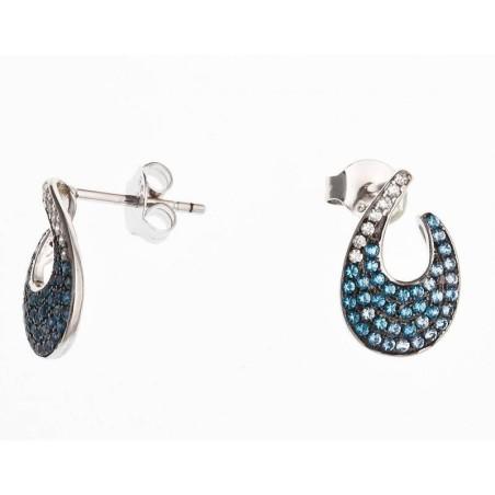 Boucles d'oreilles bleues en argent - Flamenco