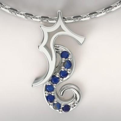 Collier femme, Topaze bleu nuit & argent - Hippocampe