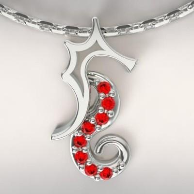 Collier femme, Topaze rouge & argent - Hippocampe
