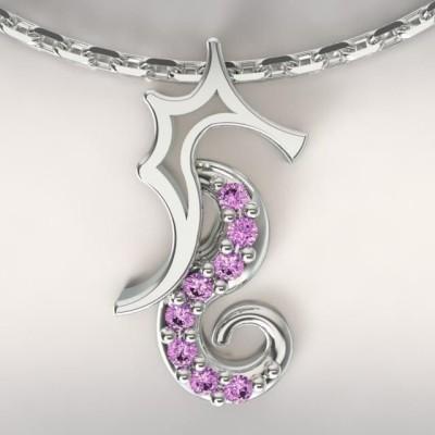 Collier femme, Topaze violette & argent - Hippocampe